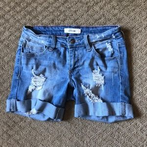 Cello Destroyed Distressed Jean Shorts - size 1 Jr